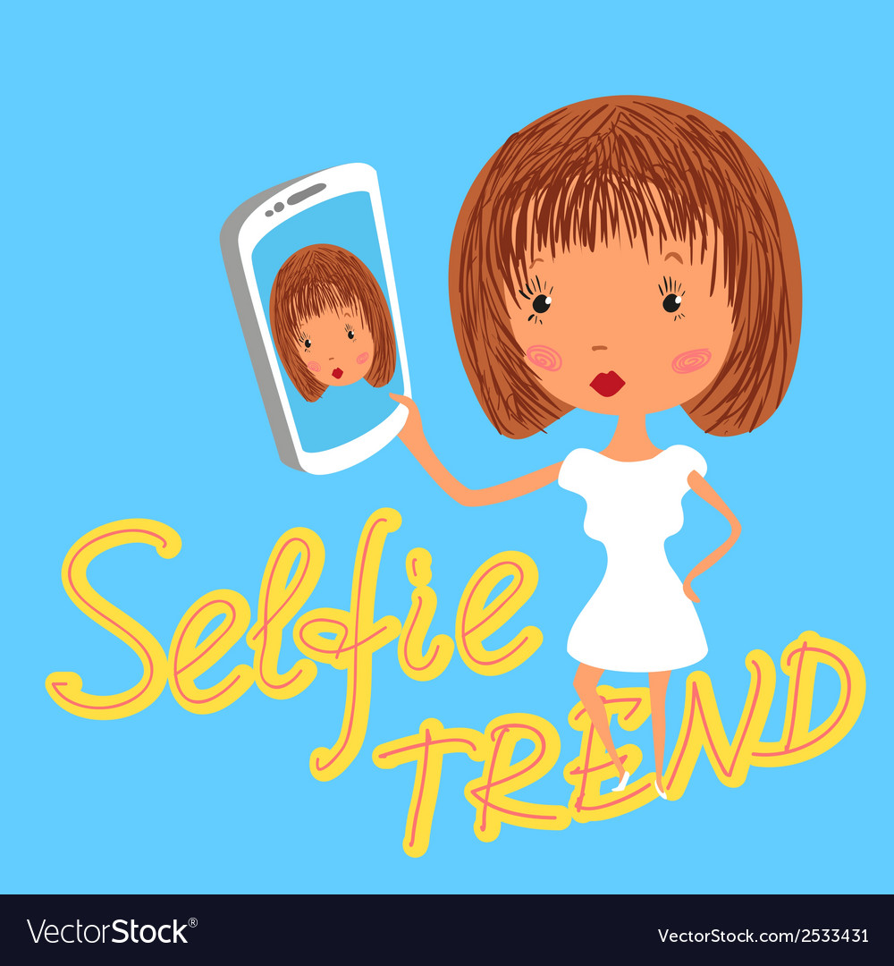 Girl is taking selfie handdrawn on blue background vector | Price: 1 Credit (USD $1)