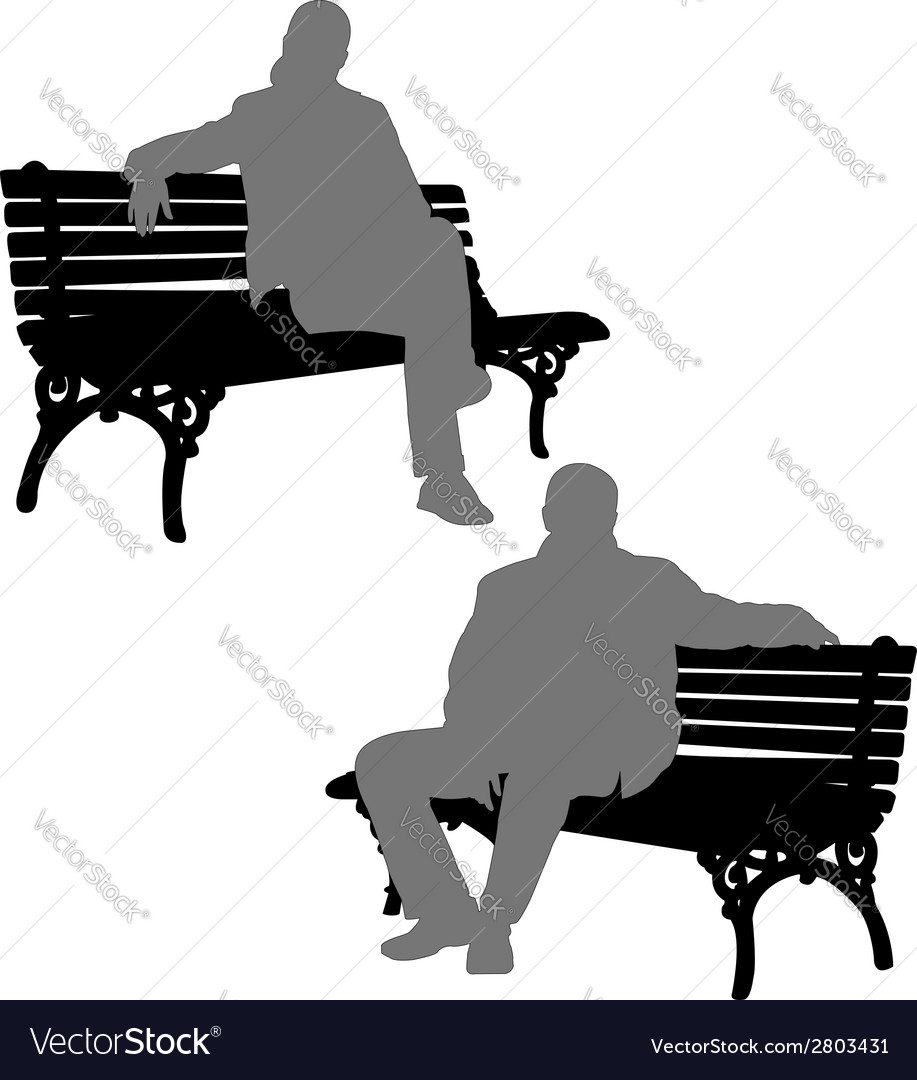 Man and woman sitting on the park bench vector | Price: 1 Credit (USD $1)