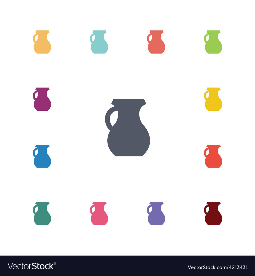 Pitcher flat icons set vector | Price: 1 Credit (USD $1)
