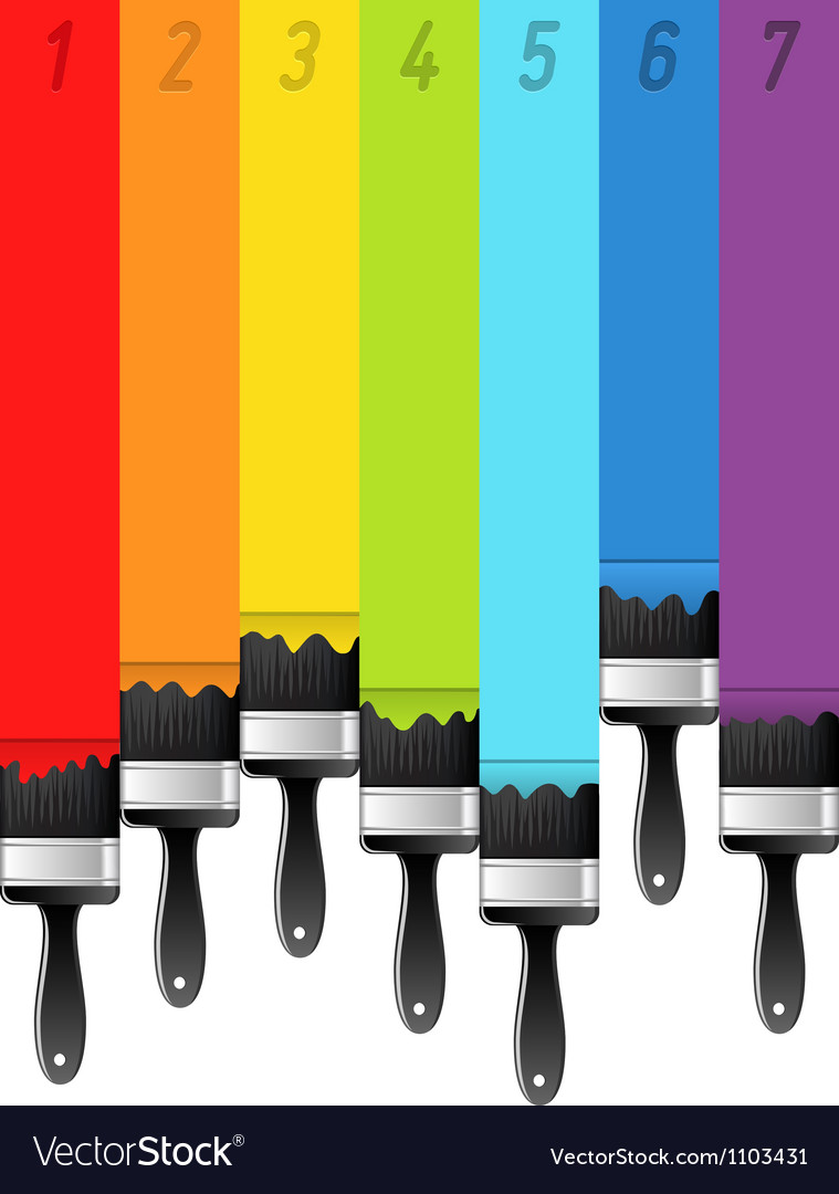 Rainbow background with brushes and numbers vector | Price: 1 Credit (USD $1)