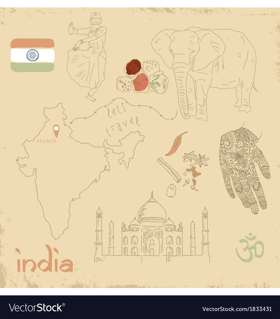 Set of indian symbols on vintage vector | Price: 1 Credit (USD $1)