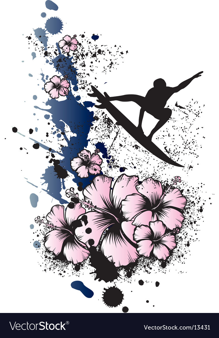Surfing aerial hibiscus vector | Price: 1 Credit (USD $1)