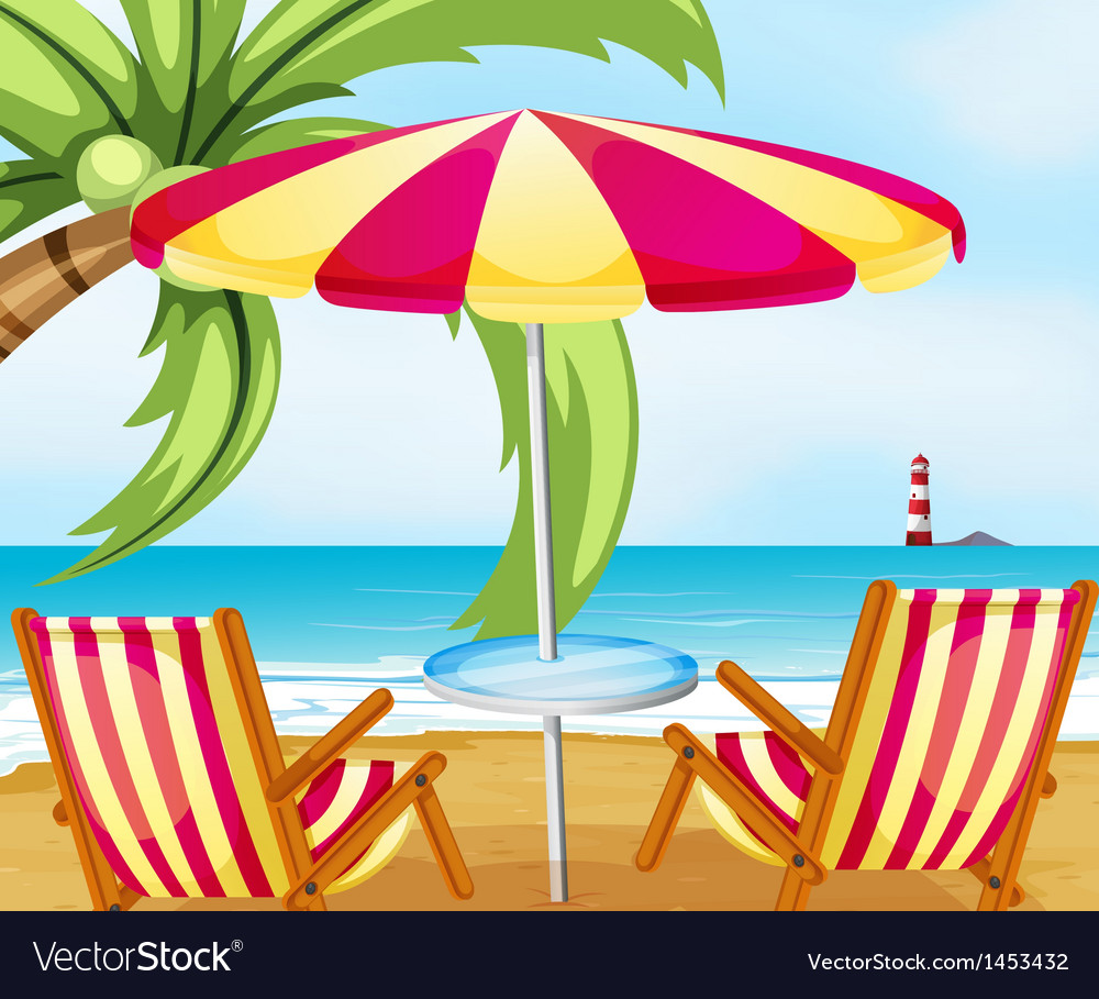 A chair and an umbrella at the beach vector | Price: 1 Credit (USD $1)