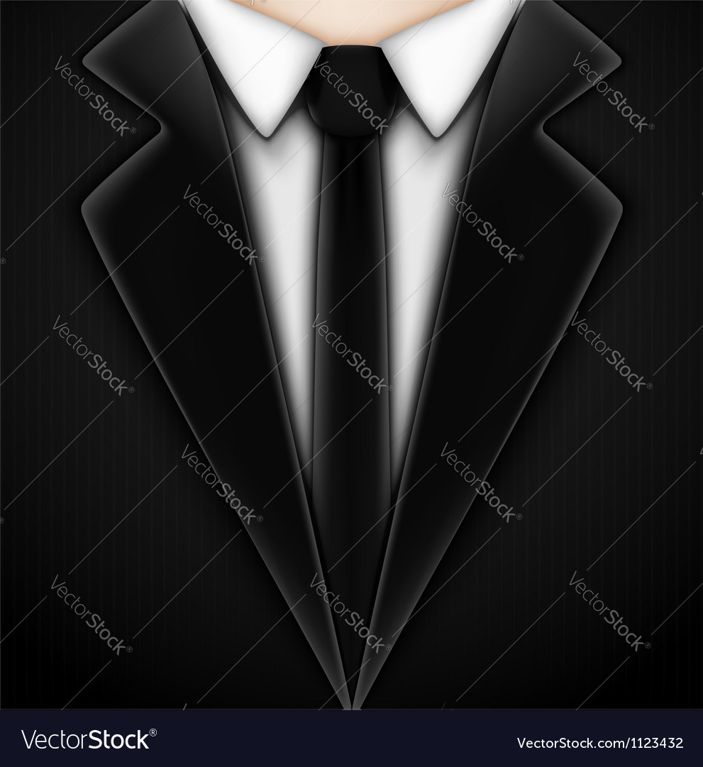 Black tuxedo with tie vector | Price: 1 Credit (USD $1)