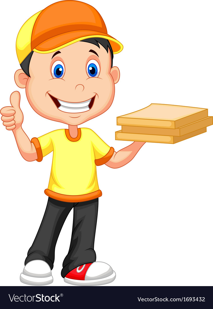 Cartoon delivery boy bringing a cardboard pizza bo vector | Price: 1 Credit (USD $1)