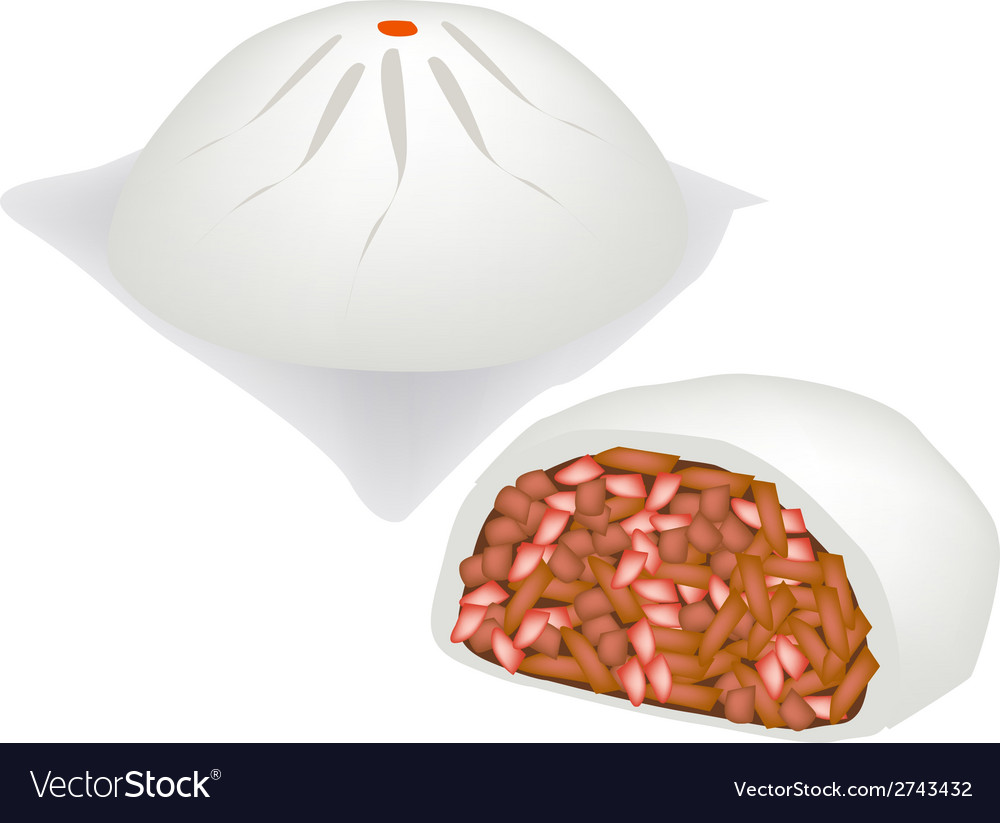 Chinese steamed pork bun on white background vector | Price: 1 Credit (USD $1)