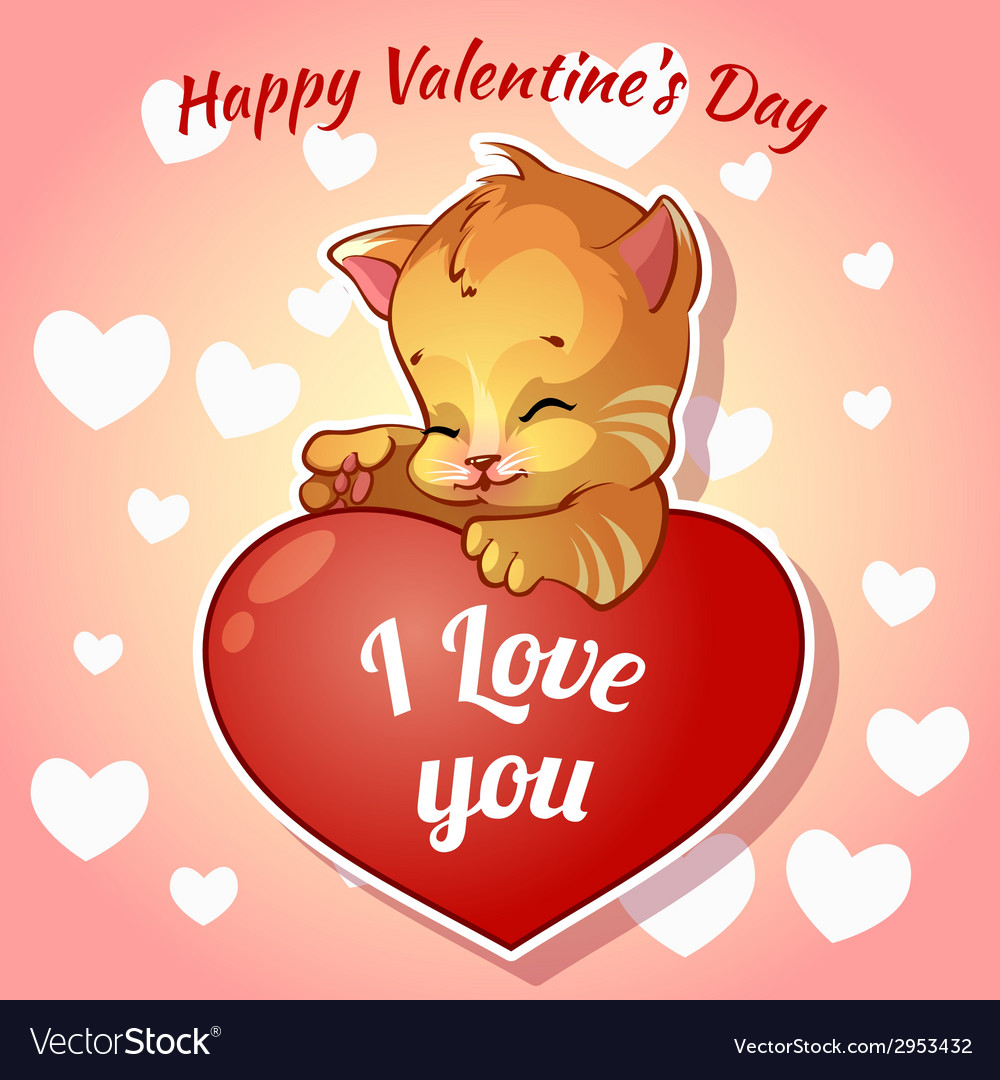 Cute red kitten with hearts for valentines day vector | Price: 1 Credit (USD $1)