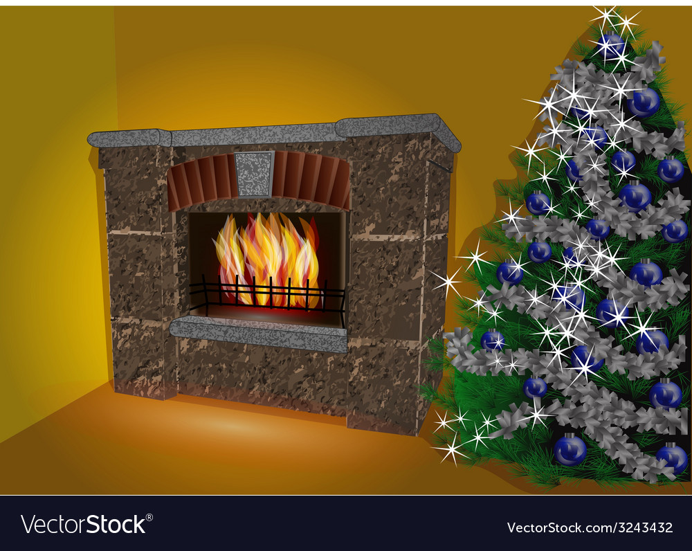 Fireplace and christmas tree vector | Price: 1 Credit (USD $1)