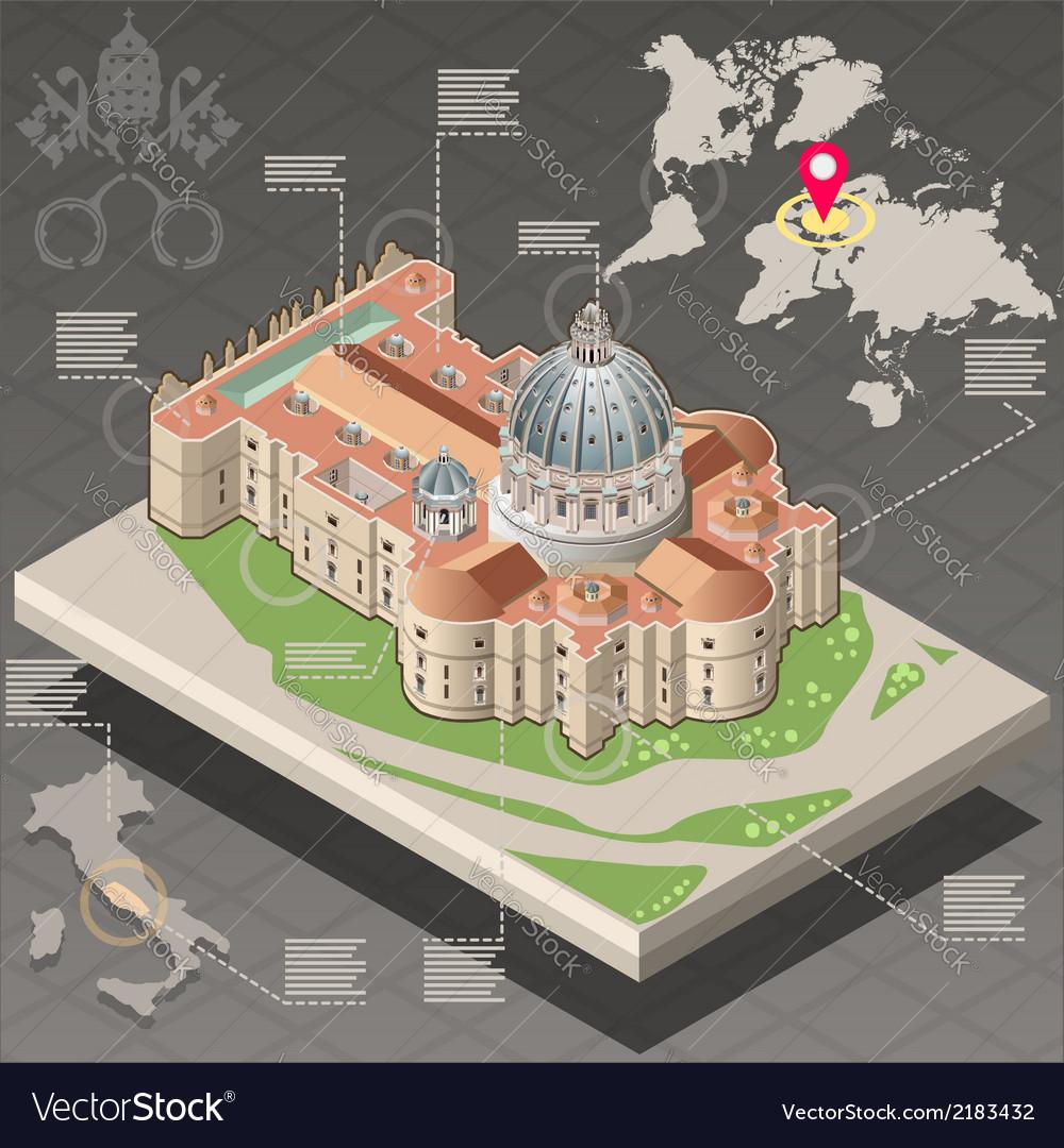 Isometric infographic of saint peter of vatican vector | Price: 1 Credit (USD $1)