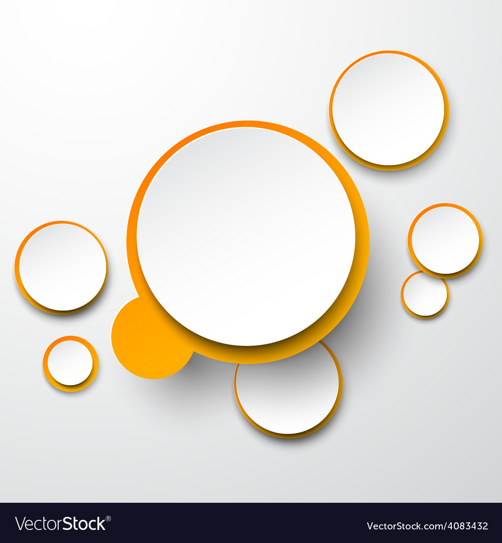 Paper white-orange round speech bubbles vector   Price: 1 Credit (USD $1)