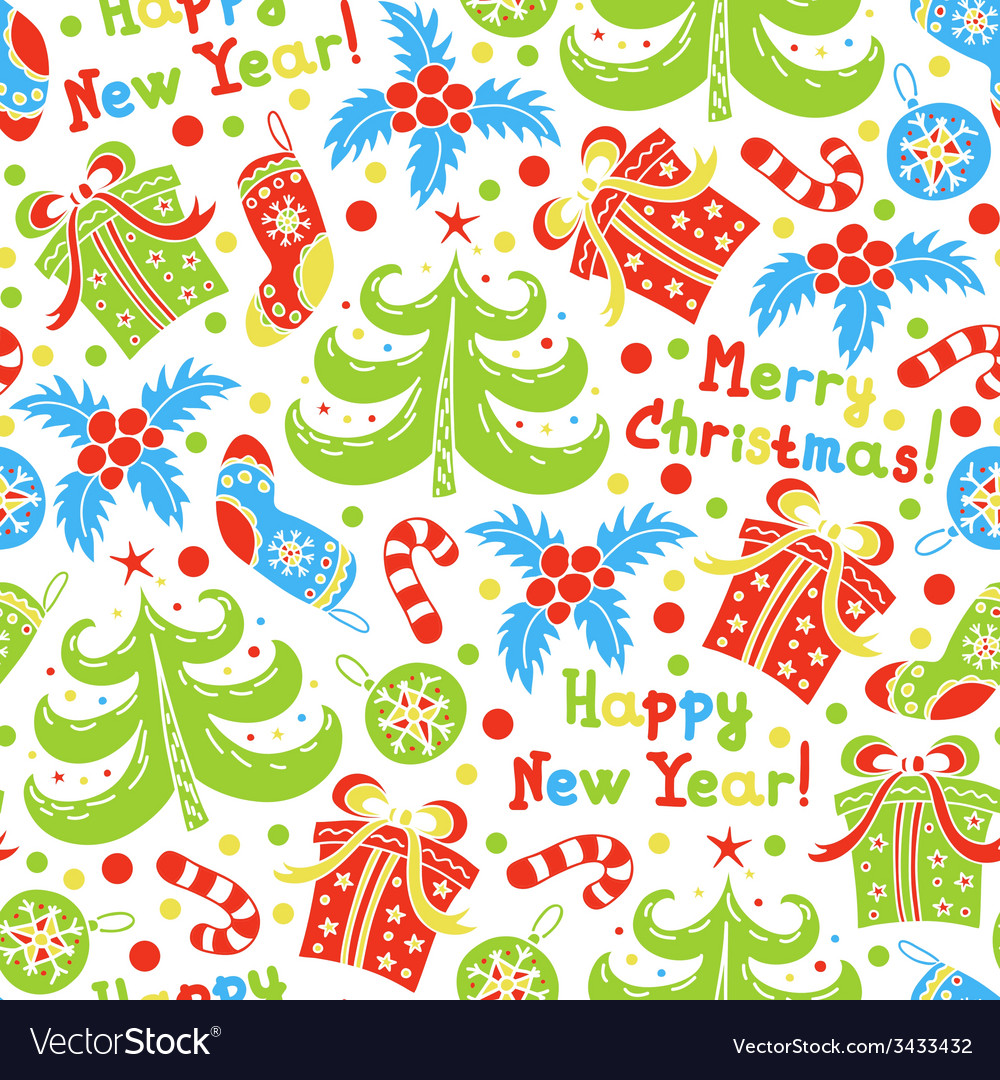 Seamless pattern happy new year and christmas vector | Price: 1 Credit (USD $1)