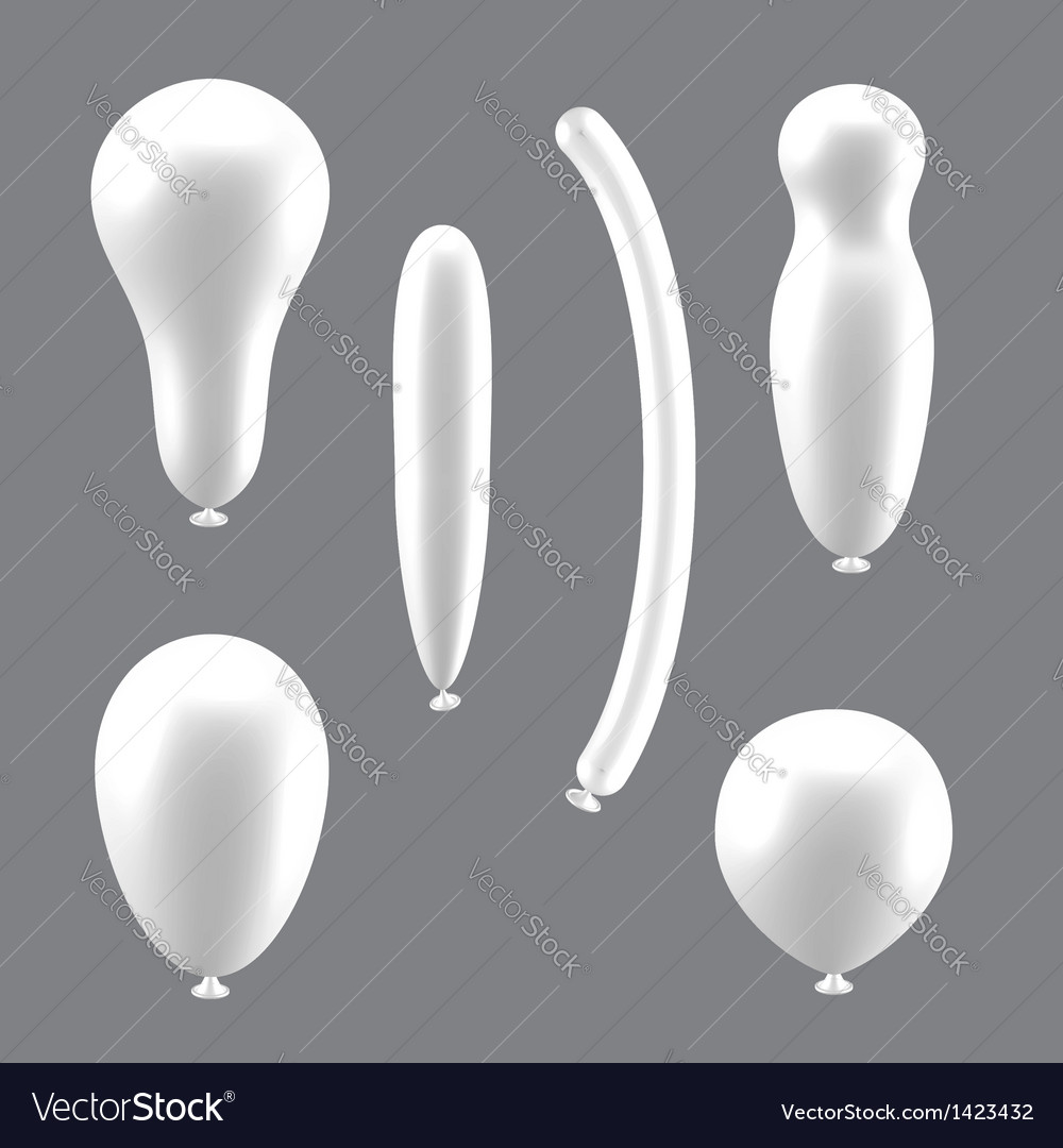 Set of white different types of balloons vector | Price: 1 Credit (USD $1)