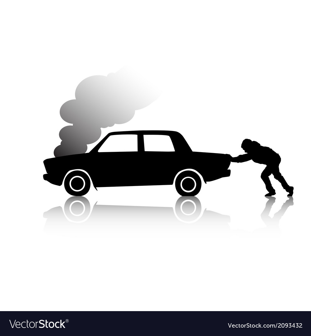 Silhouette of man pushing a broken car vector | Price: 1 Credit (USD $1)