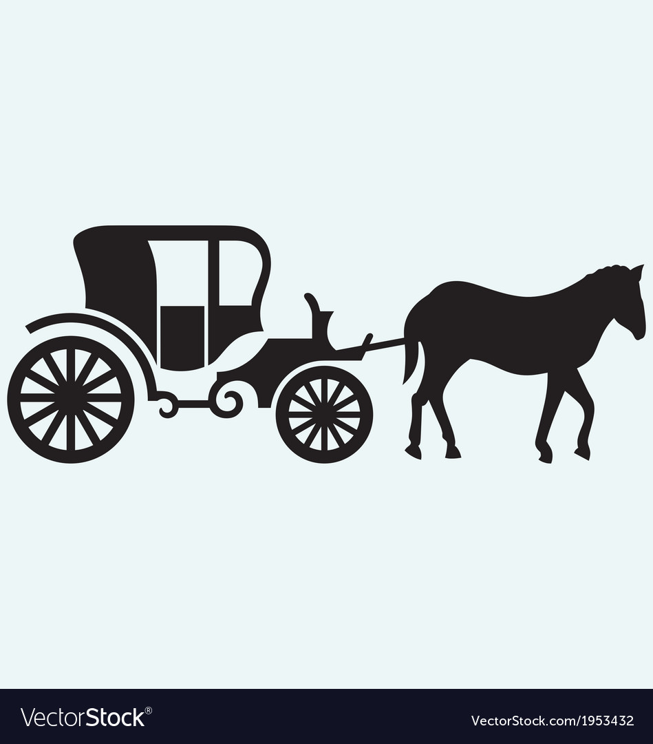 Vintage carriage and horsedrawn vector
