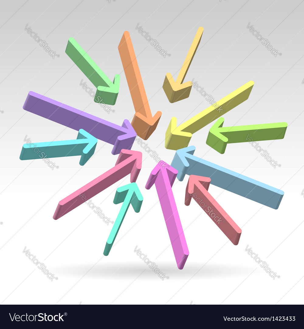 Abstract centered colorful arrows vector | Price:  Credit (USD $)