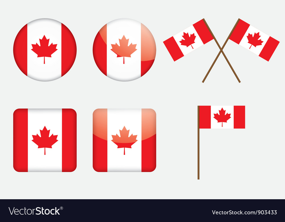 Badges with canadian flag vector | Price: 1 Credit (USD $1)