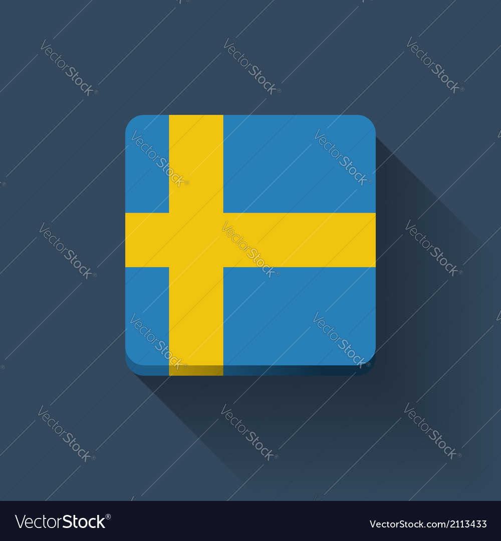 Button with flag of sweden vector | Price: 1 Credit (USD $1)