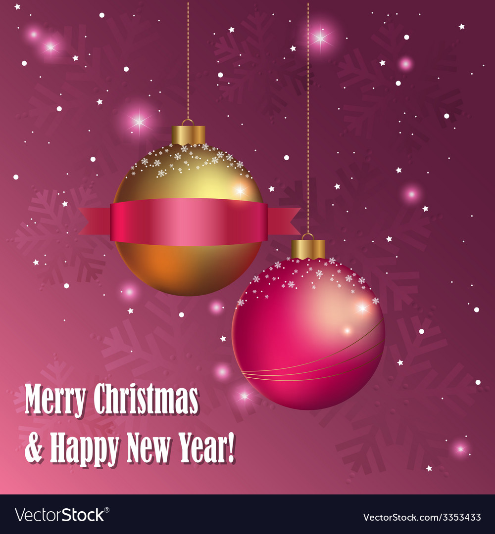 Christmas greeting card with decorative balls vector | Price: 1 Credit (USD $1)