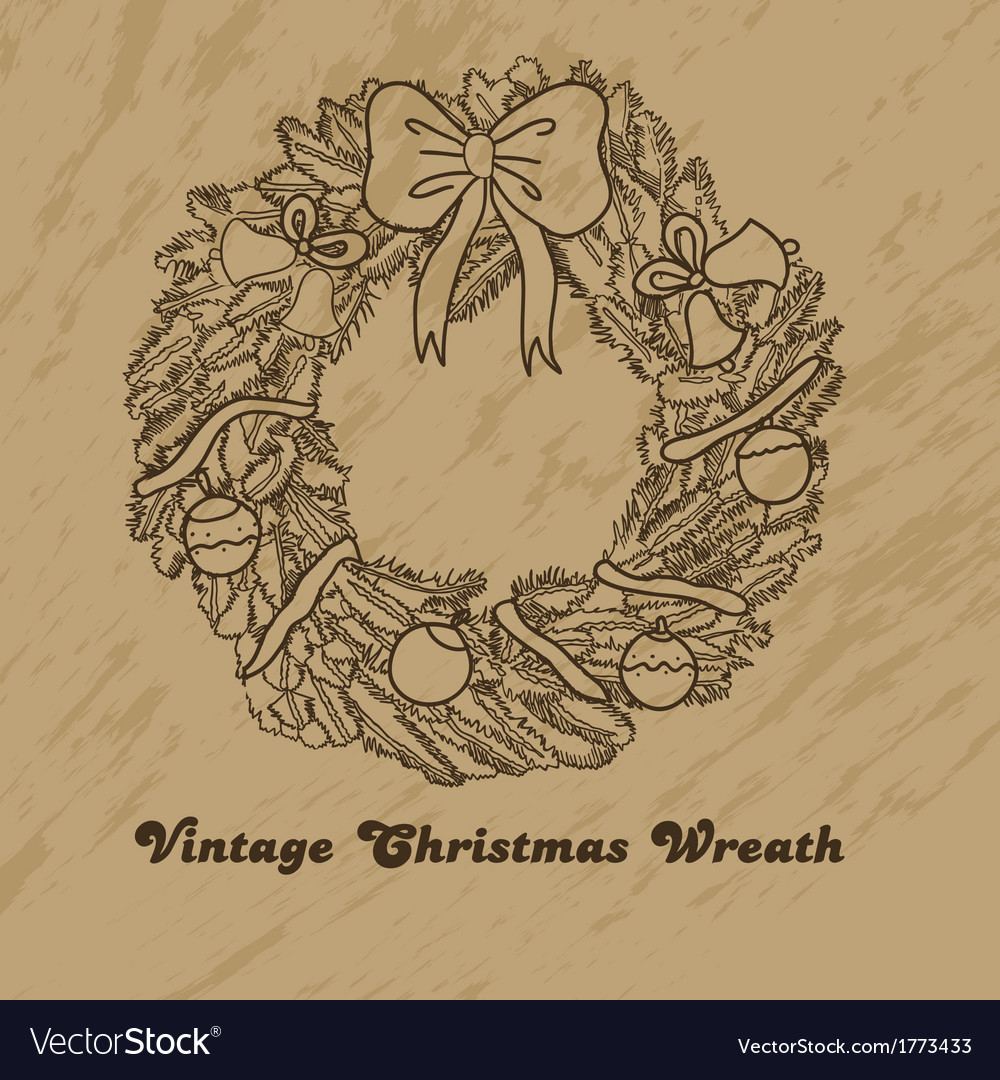 Christmas hand drawn wreath vector | Price: 1 Credit (USD $1)
