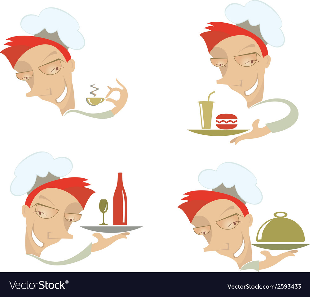 Comic cook and food vector | Price: 1 Credit (USD $1)