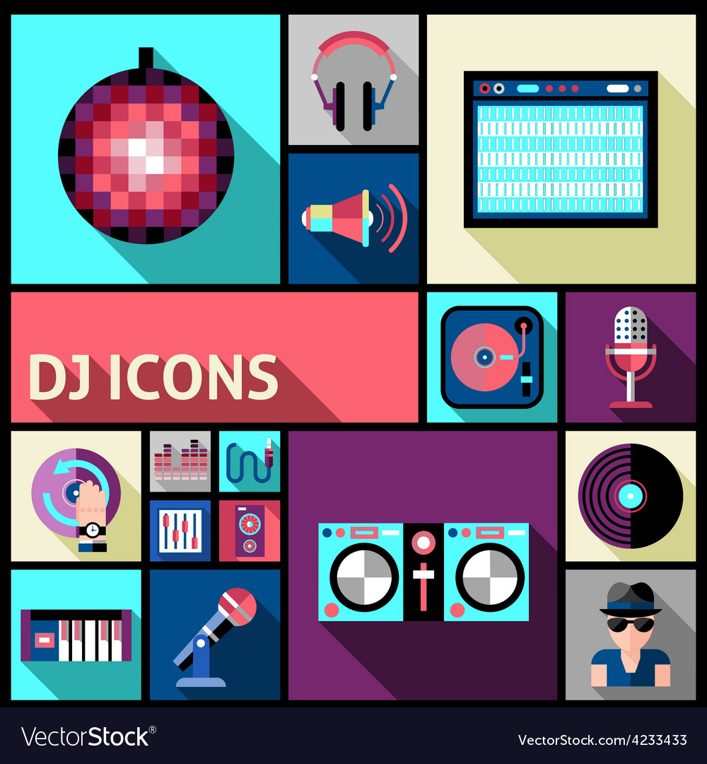 Dj icon set vector | Price: 1 Credit (USD $1)