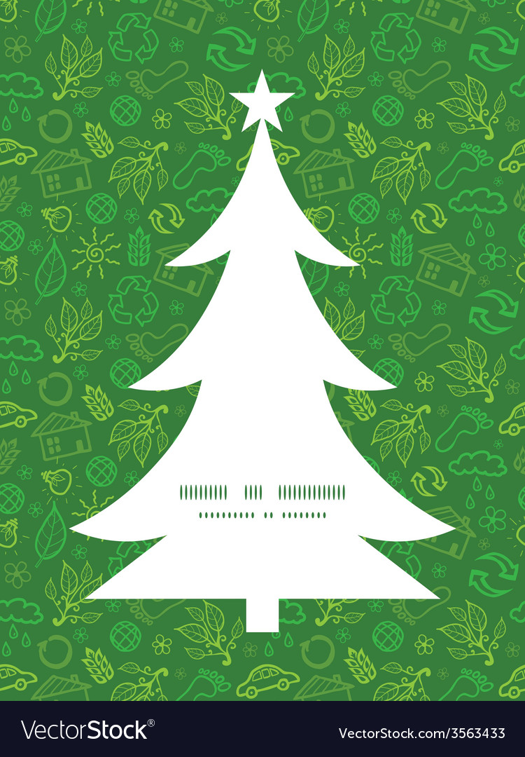 Ecology symbols christmas tree silhouette pattern vector