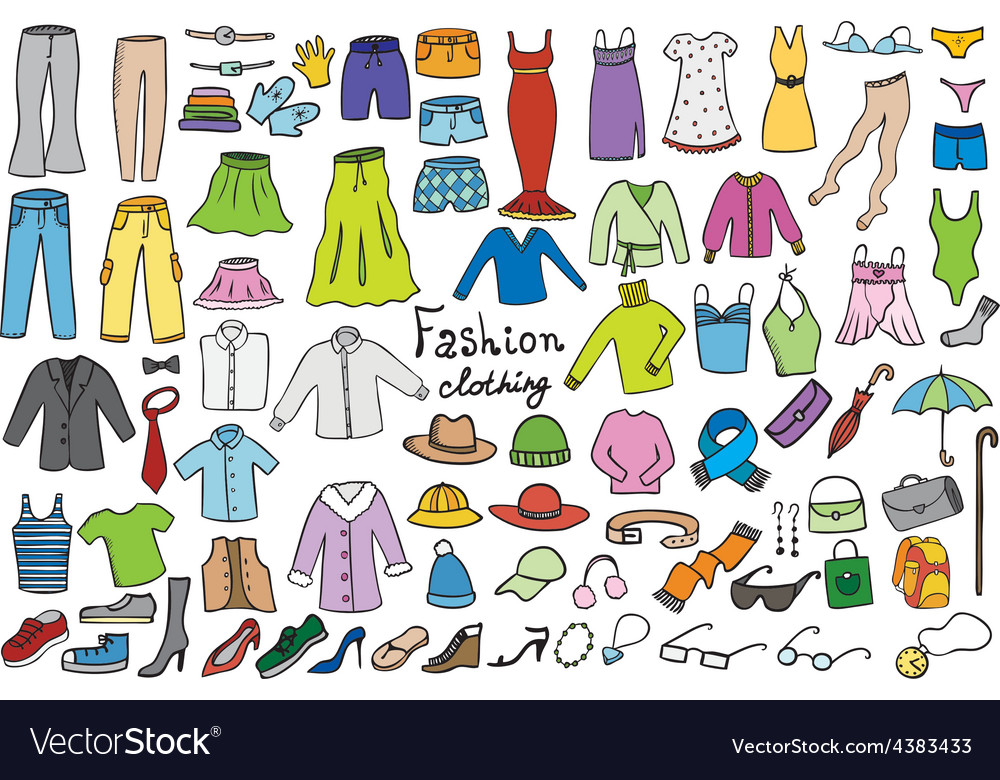 Fashion and clothing color icons collection vector | Price: 1 Credit (USD $1)