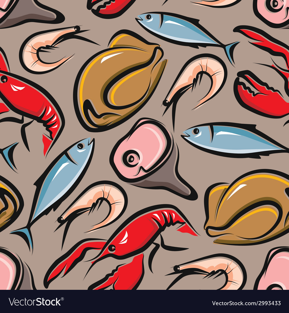 Food background with meat and seafood seamless vector | Price: 1 Credit (USD $1)