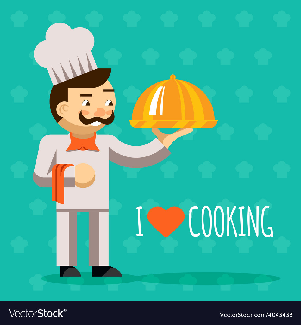 I love cooking cook with tray and delicious dish vector | Price: 1 Credit (USD $1)