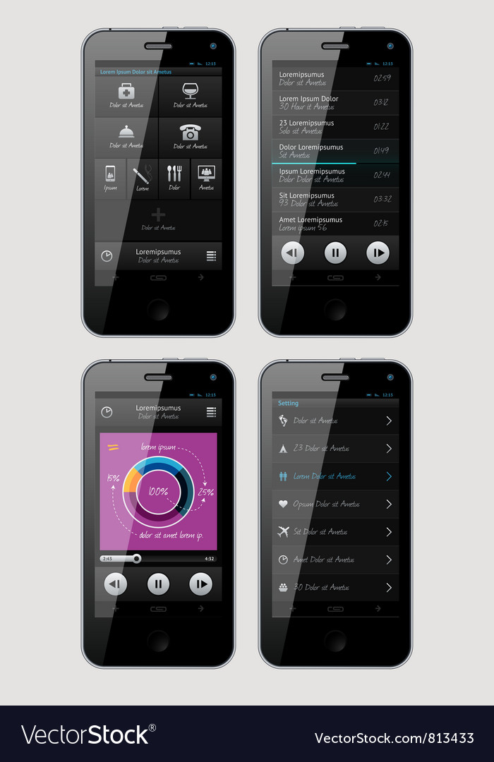 Interface for phone vector | Price: 3 Credit (USD $3)