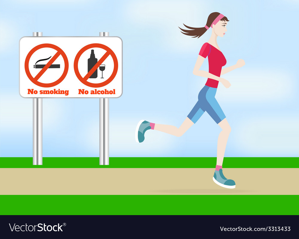 Running woman outdoors vector | Price: 1 Credit (USD $1)