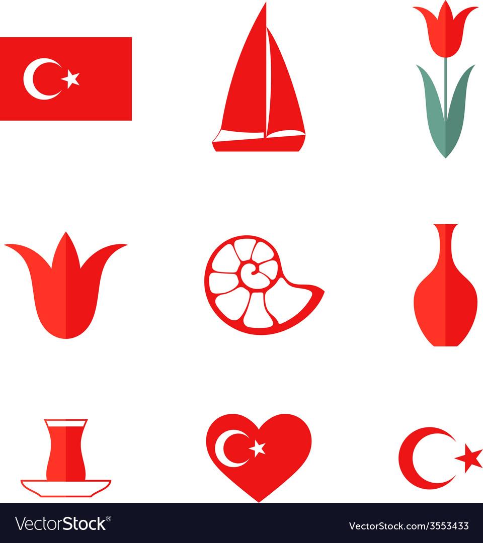 Turkey icon set vector | Price: 1 Credit (USD $1)