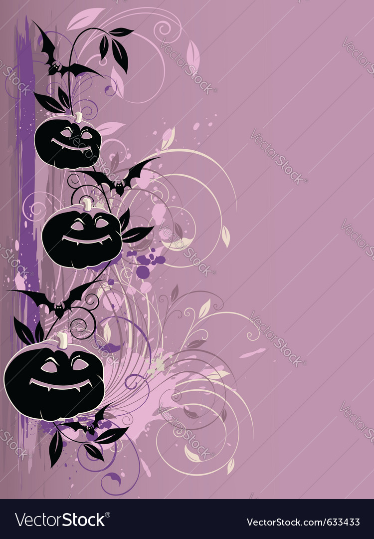 Violet halloween background with pumpkin and bat vector | Price: 1 Credit (USD $1)