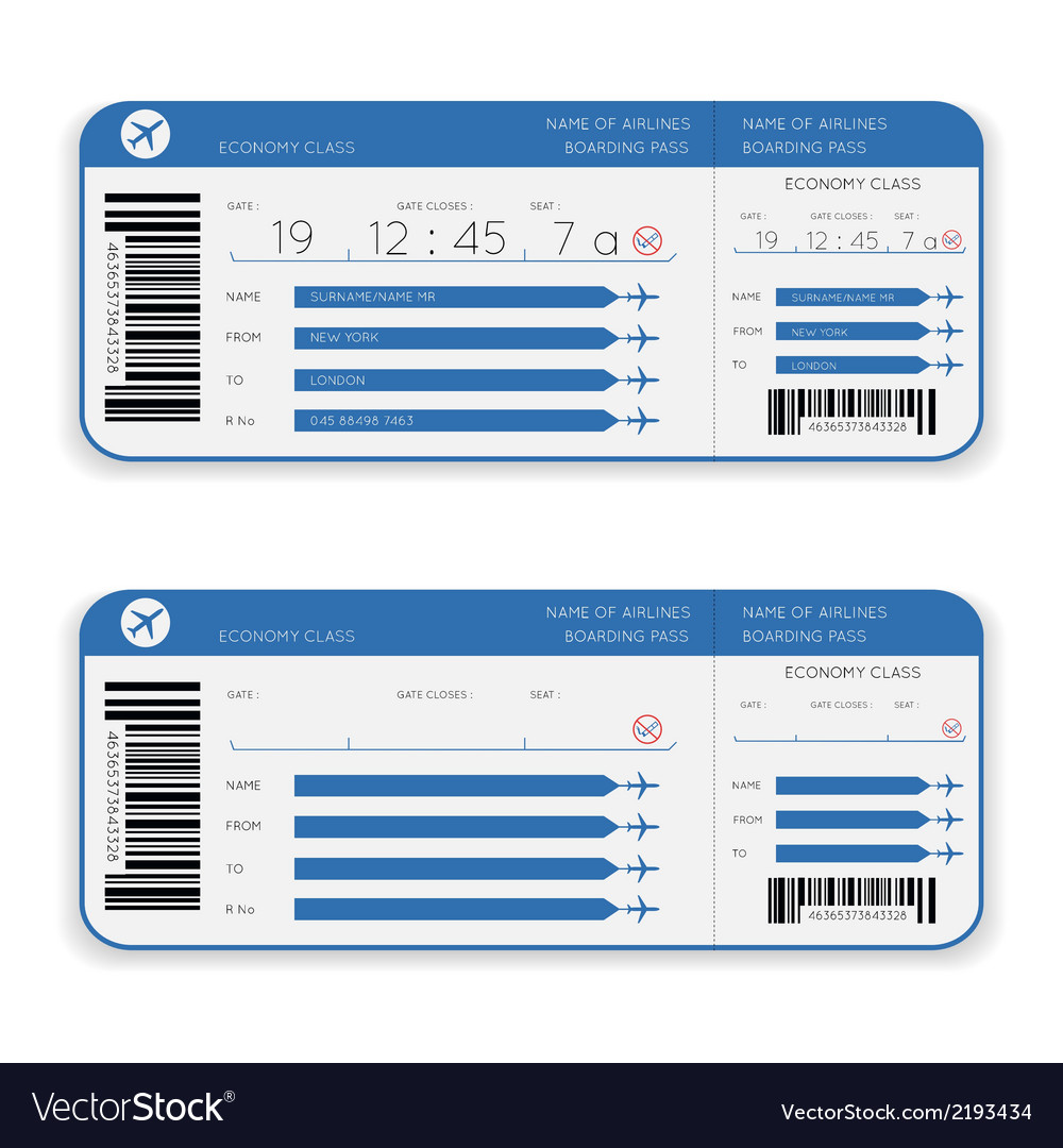 Airline boarding pass ticket vector | Price: 1 Credit (USD $1)