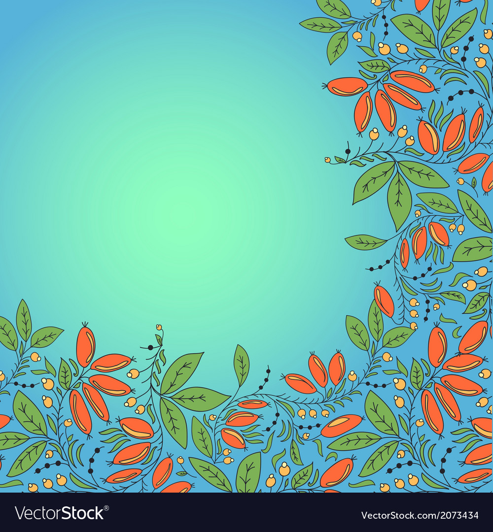 Barberry berries card place for text vector   Price: 1 Credit (USD $1)