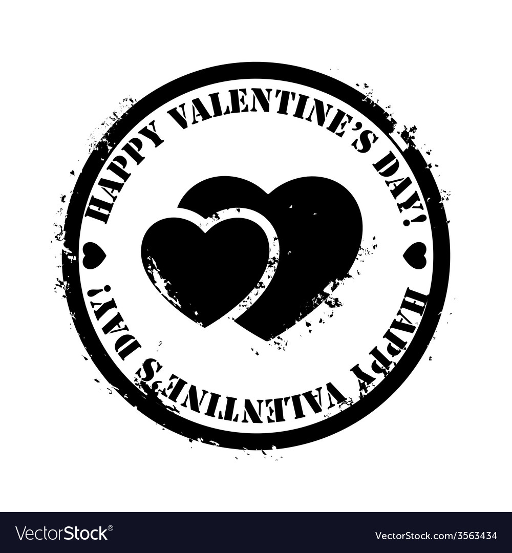 Black valentine stamp vector | Price: 1 Credit (USD $1)