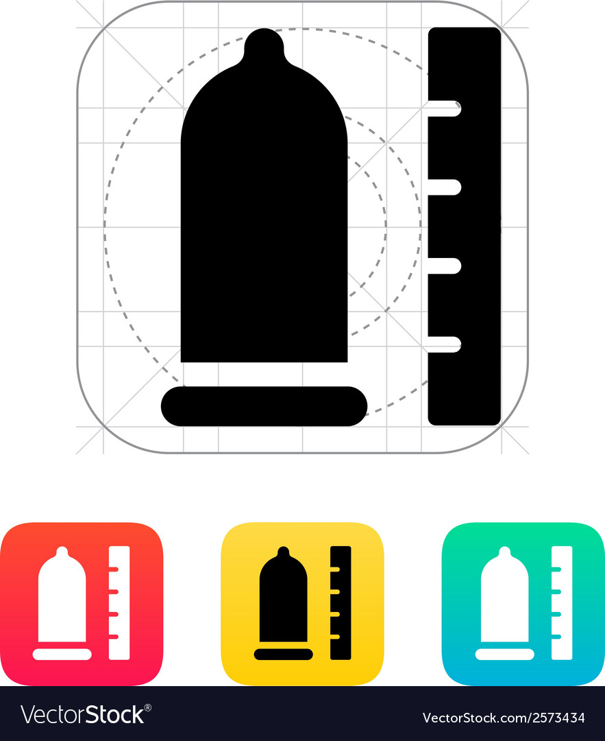 Condom with ruler icon vector | Price: 1 Credit (USD $1)