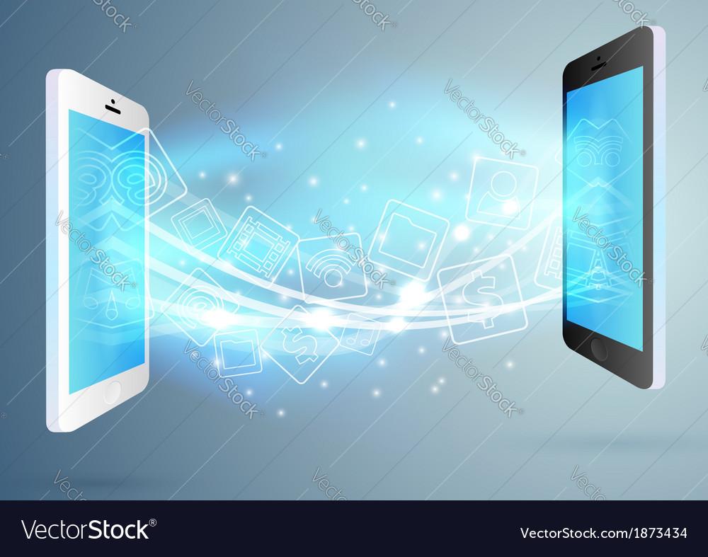 Exchange between two phones - concept vector   Price: 1 Credit (USD $1)