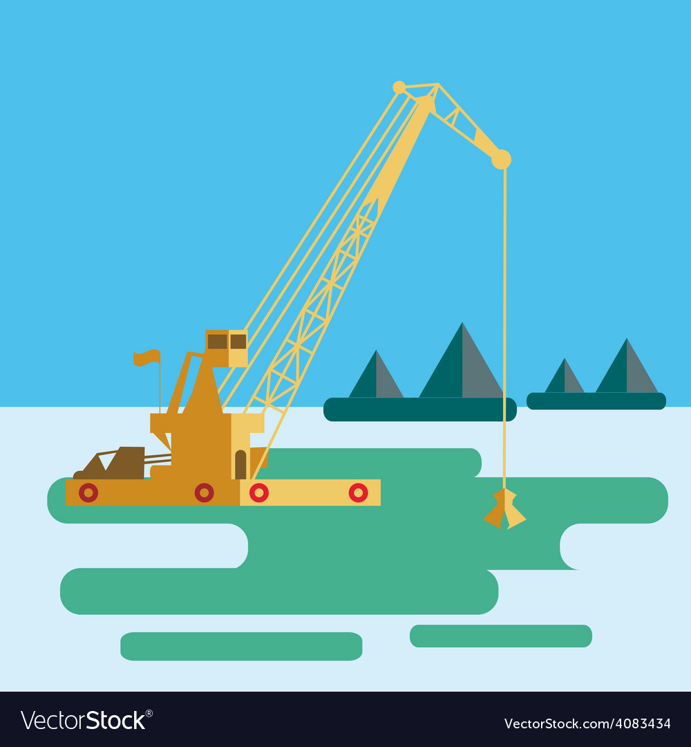 Flat huge crane barge industrial ship that digs vector | Price: 1 Credit (USD $1)