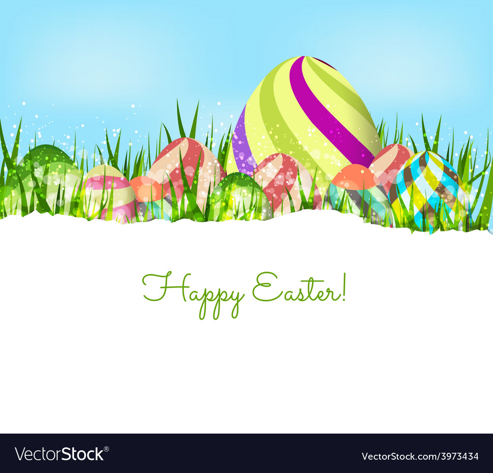 Happy easter eggs spring background vector | Price: 1 Credit (USD $1)