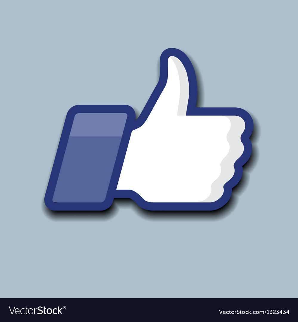Likethumbs up symbol icon on a grey background vector | Price: 1 Credit (USD $1)