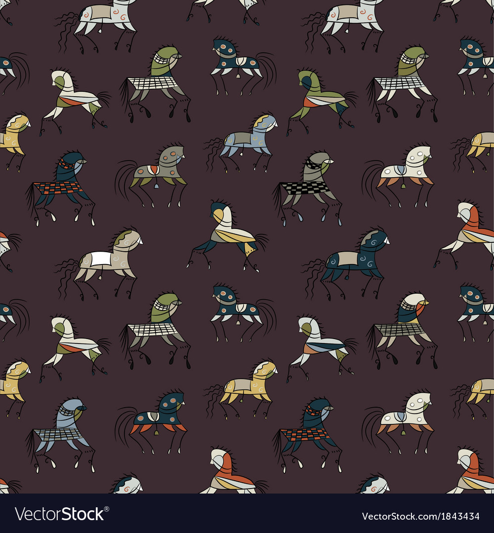 Seamless abstract background with ethnic horses vector | Price: 1 Credit (USD $1)