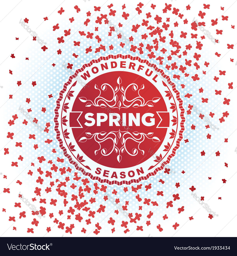 Spring retro label with flowers vector | Price: 1 Credit (USD $1)