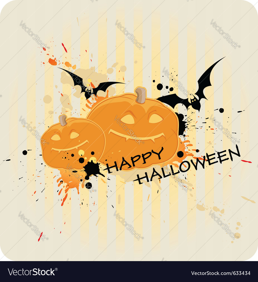 Striped halloween background with pumpkin and bat vector | Price: 1 Credit (USD $1)