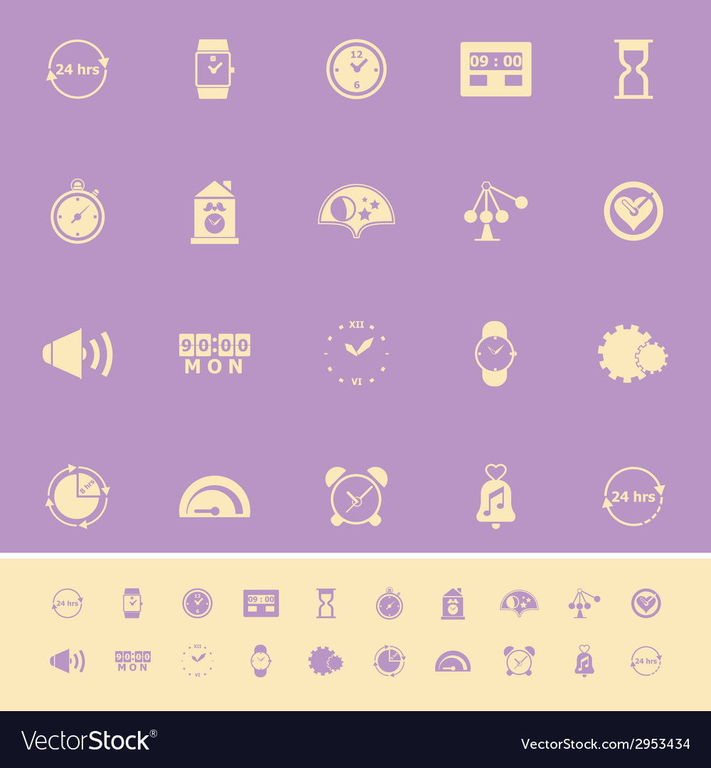 Time related color icons on violet background vector | Price: 1 Credit (USD $1)