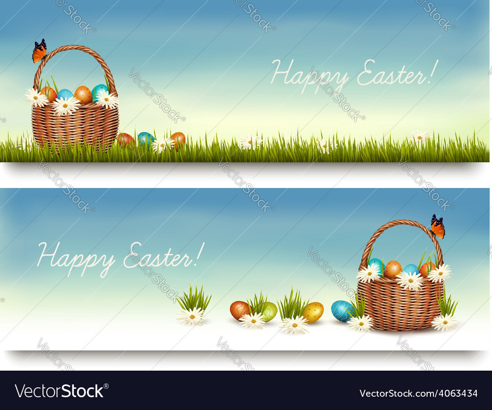 Two happy easter banners with easter eggs in a vector | Price: 3 Credit (USD $3)