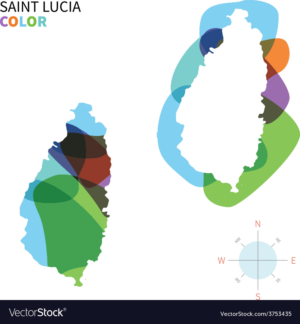 Abstract color map of saint lucia vector | Price: 1 Credit (USD $1)