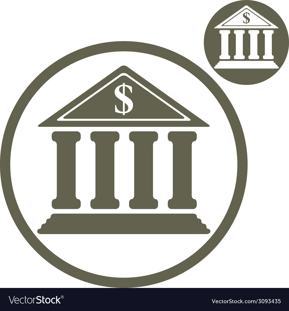 Bank building simple single color icon isolated on vector | Price: 1 Credit (USD $1)