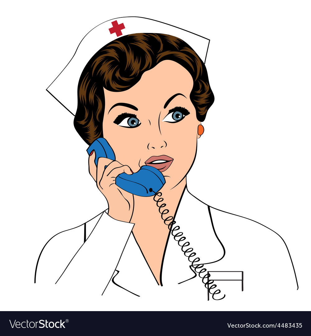 Beautiful friendly and confident nurse at phone vector | Price: 1 Credit (USD $1)