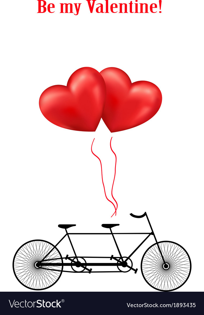 Bicycle and heart balloons background vector   Price: 1 Credit (USD $1)